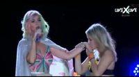 Katy Perry sube al escenario a una extasiada fan en un concierto en Brasil